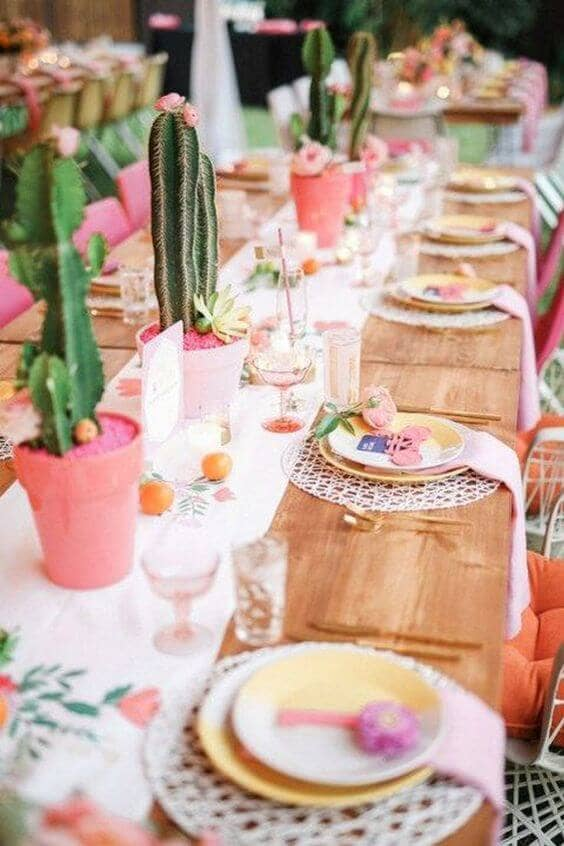 Pink and Green Cactus Table Décor
