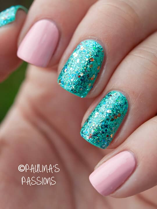 Sparkly Teal Pink Fusion Mermaid Nail