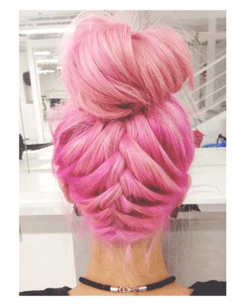 Pink Braided Updo with Loose Ballerina Bun