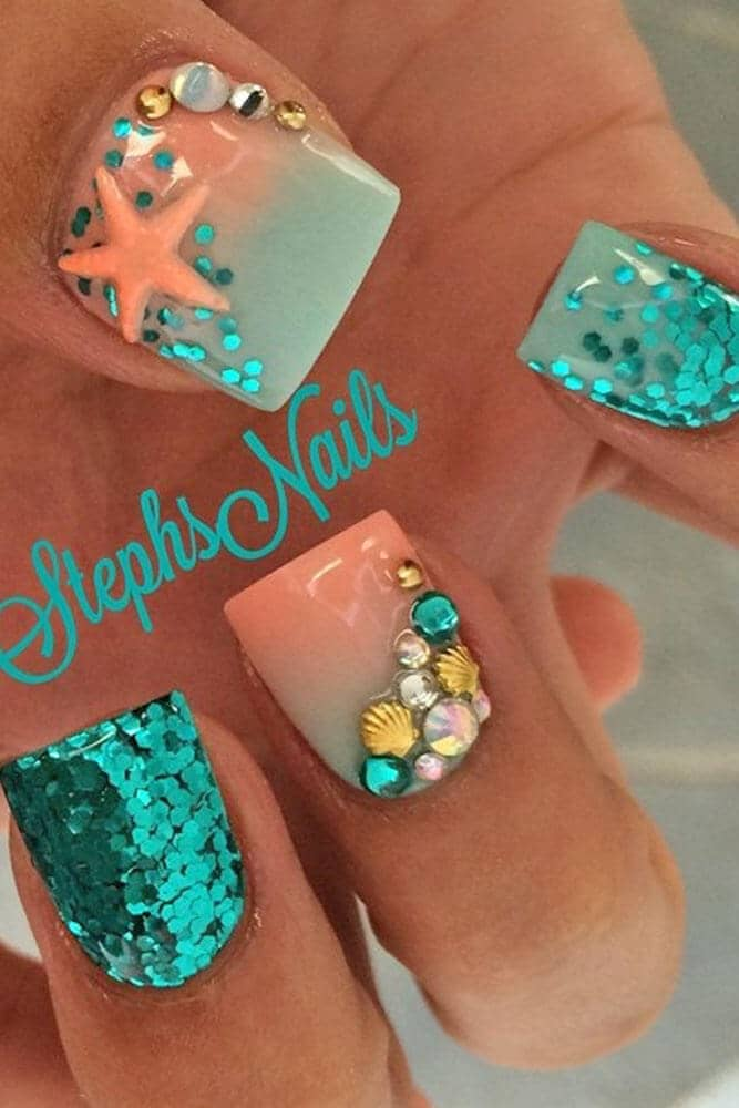 Embellished Teal and Orange Ombre Sparkle Nails