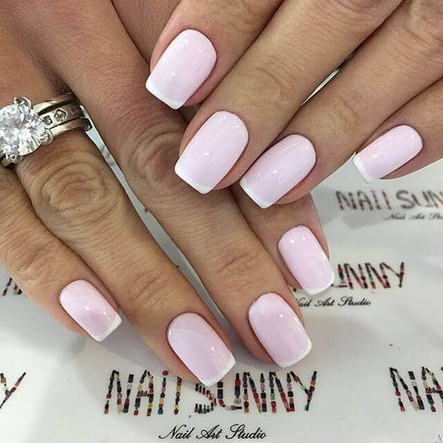 3) Gel French Manicure with Baby Pink Polish - 50 Awesome French Tip Nails To Bring Another Dimension To Your Manicure