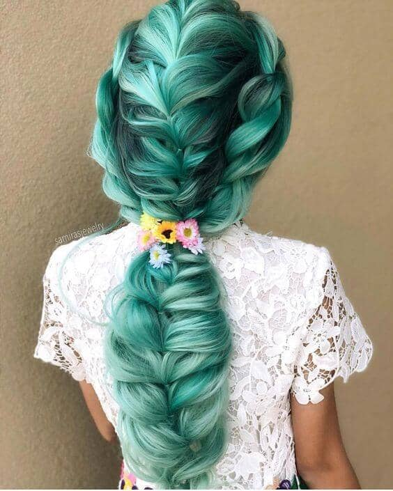 Long Fishtail Braid with Teal Hair