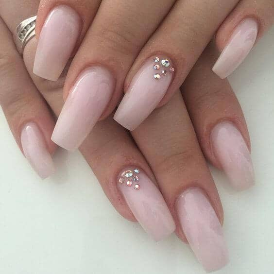 4) Diamonds Are A Girl's Best Friend Nail Design - 50 Sweet Pink Nail Design Ideas For A Manicure That Suits Exactly