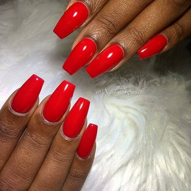 Mid Length Square High Gloss Nail Design