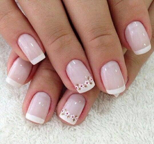 6) Adorable Floral Nail Art Design - 50 Awesome French Tip Nails To Bring Another Dimension To Your Manicure