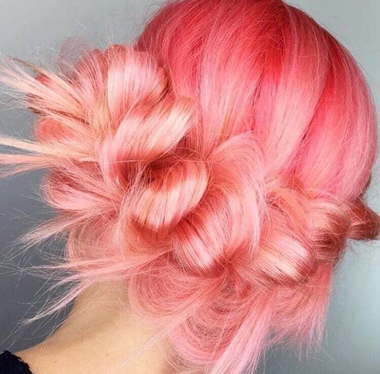 Bright Pink Twisted Braid Updo