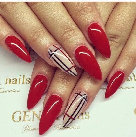 10 Burberry Inspired Long Pointed Designer Nails