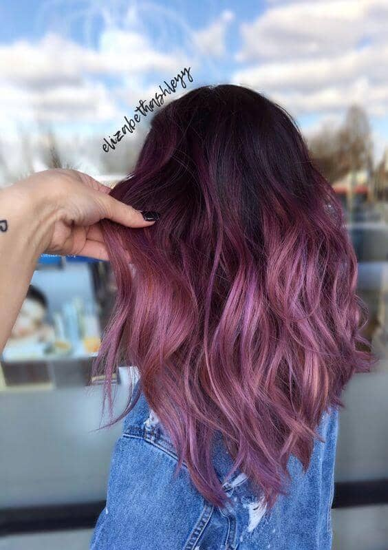 Purple Ombre Hair for Dark Hair Colors
