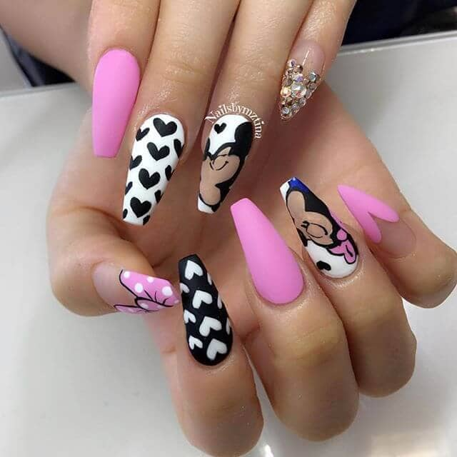 11) Coordinating Black, Pink, And Disney Nail Art Designs - 50 Sweet Pink Nail Design Ideas For A Manicure That Suits Exactly