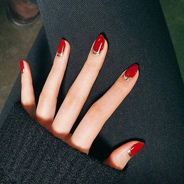 Cool Red Nails With Gold Cuticles