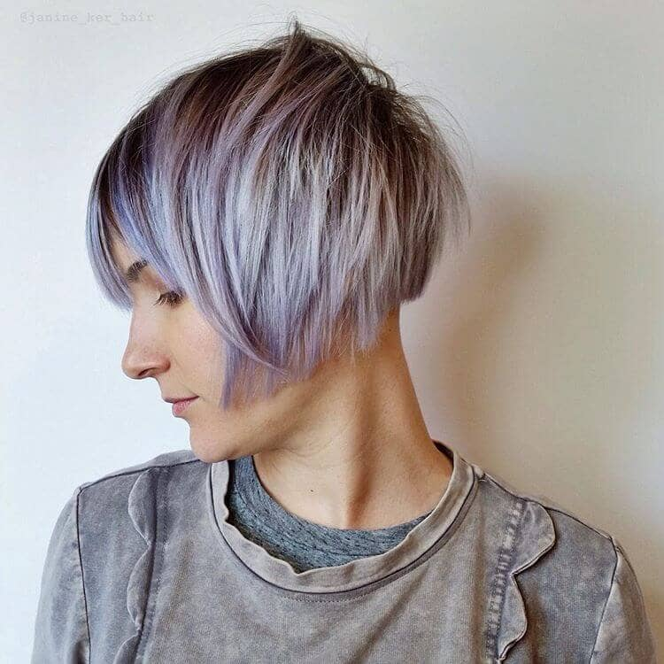 Edgy Violet Choppy Short Hair With Bangs