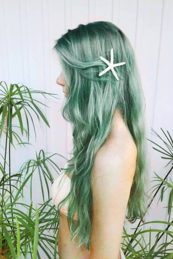 Saturated Turquoise Hair Color with Fish Scales