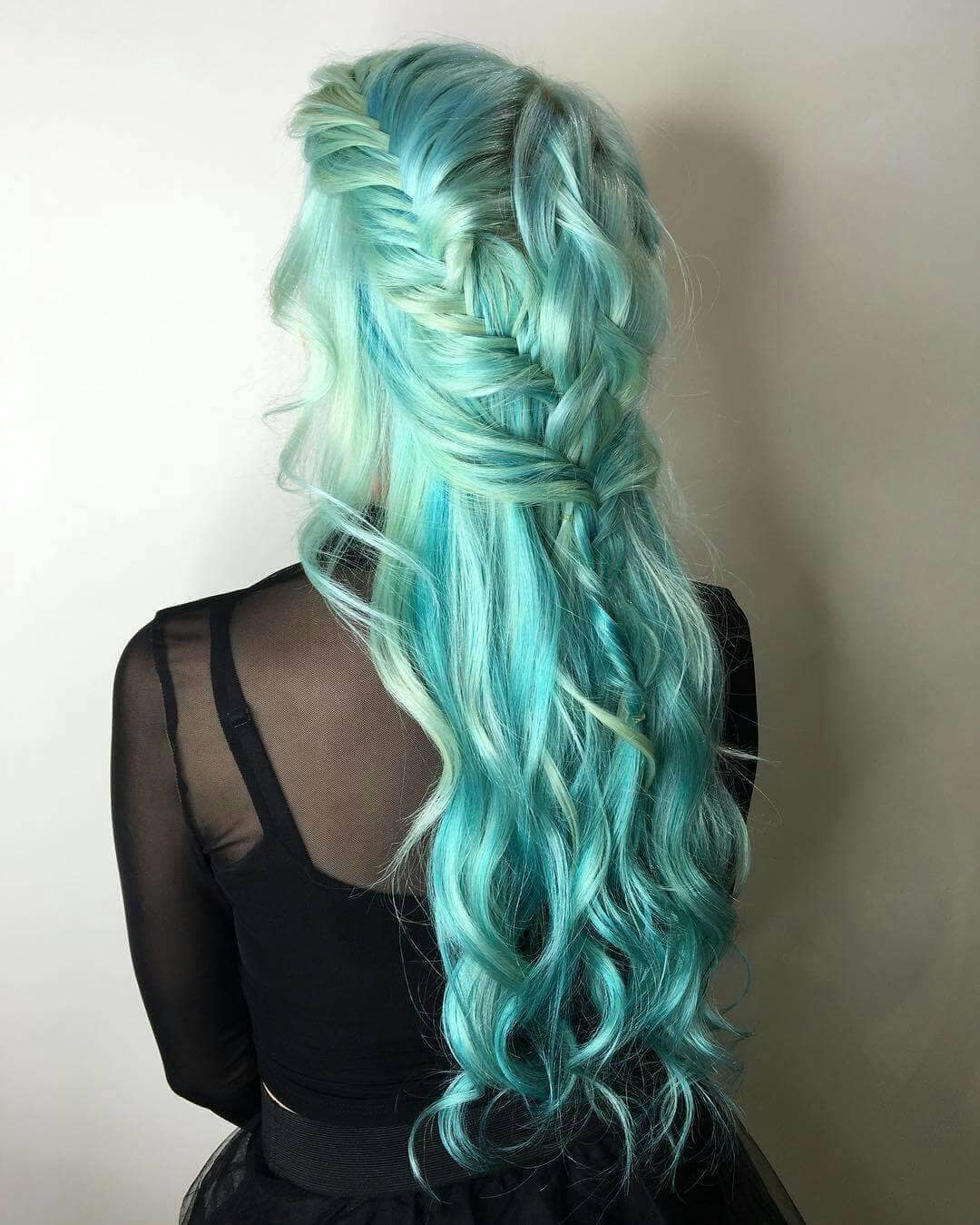 Braided and Curled Turquoise Hair