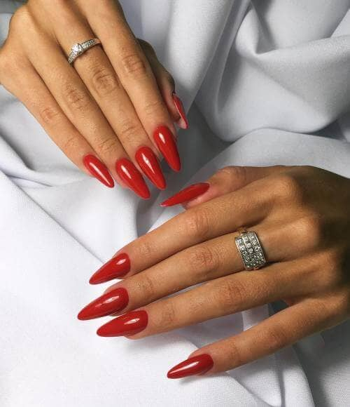 Elegant And Simple Red Nails - Dynasty Edition