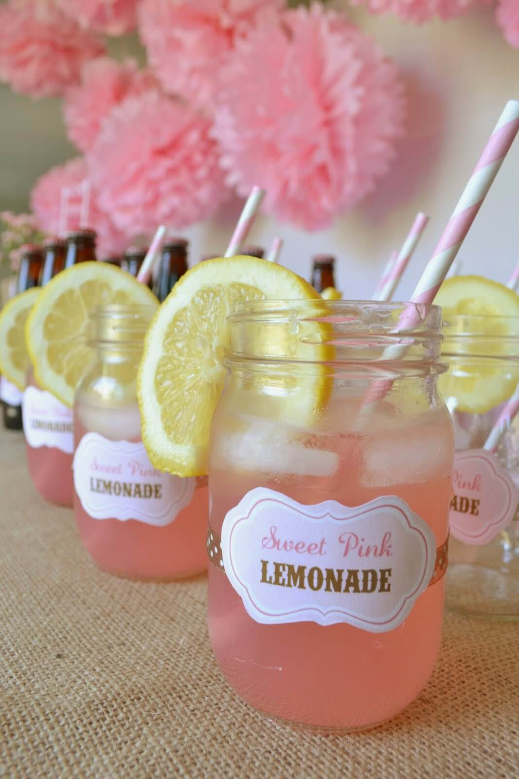 Sweet Pink Lemonade in Mason Jars
