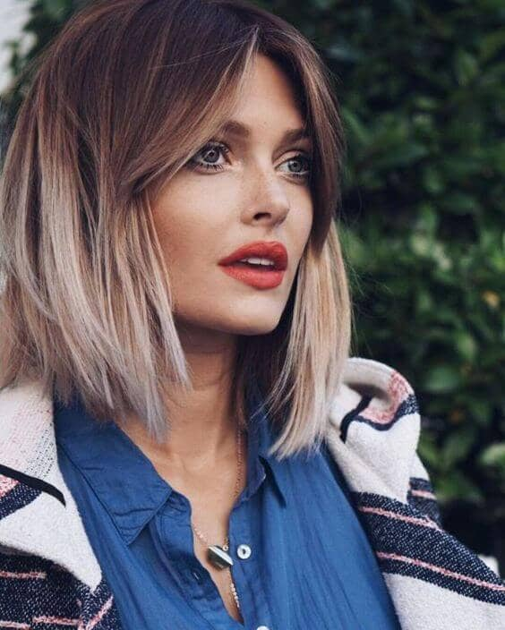 Ombre Lob With Perfect Front Bangs