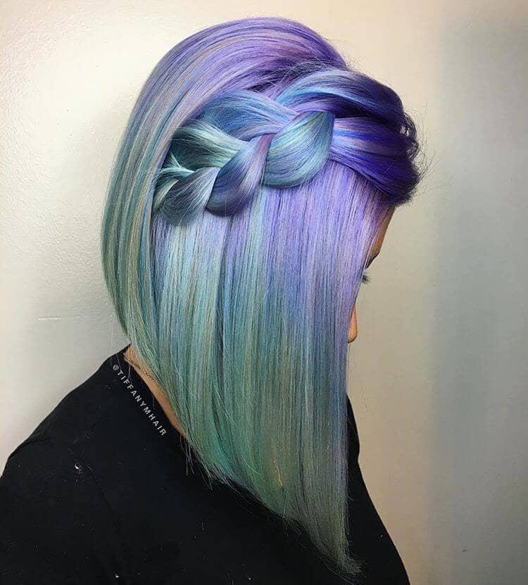 Sleek Blowout on Purple Ombre Hair