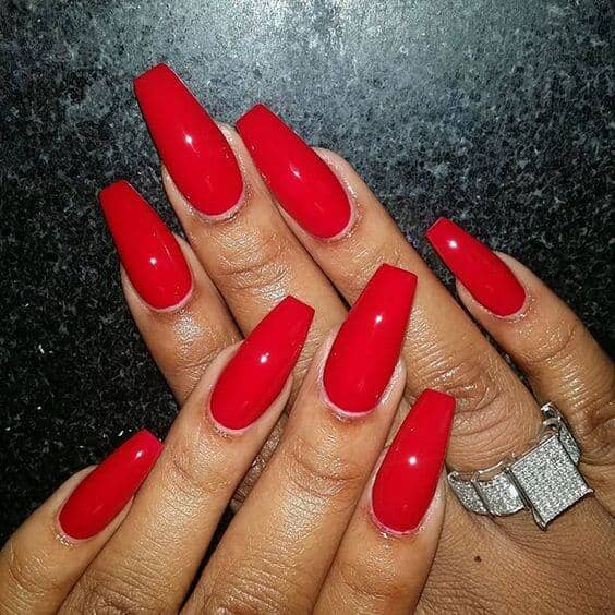 20 Classic Red Coffin Shaped Nails