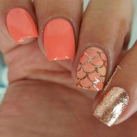 Dreamy Coral Mermaid Nail Polish Manicure
