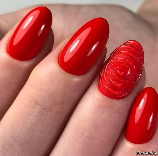 Look Into My Eyes Red 3D Swirl Round Nails<