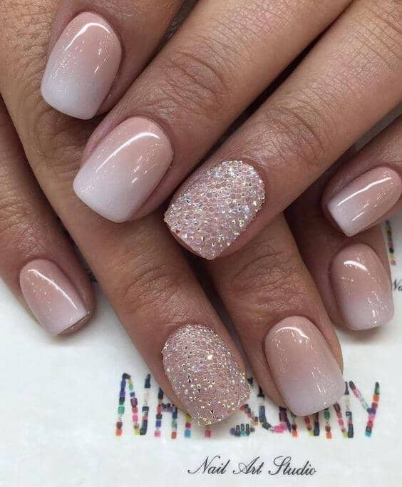 Classy Pink, White, and Glittery Manicure - 50 Awesome French Tip Nails To Bring Another Dimension To Your Manicure