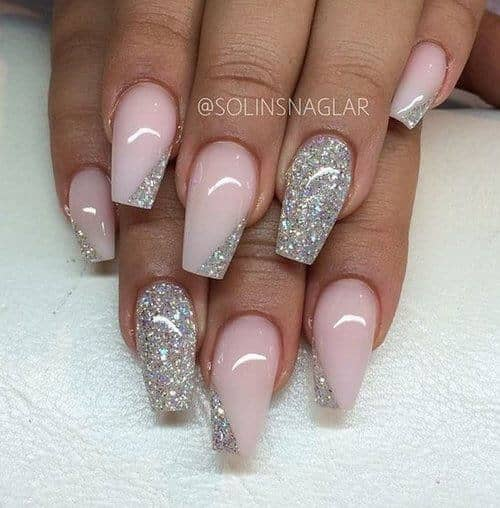 Glitter And Pink Mid Length Nails