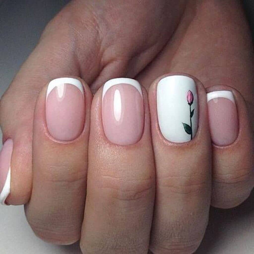26) Tulips with a White Tip Nail Design - 50 Awesome French Tip Nails To Bring Another Dimension To Your Manicure
