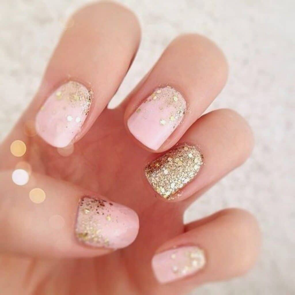 Gold Flecks And Pale Pink Nail Designs