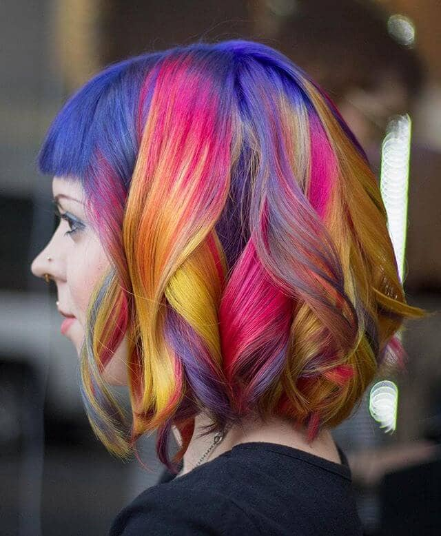 Chin-Length Rainbow Mermaid Bob