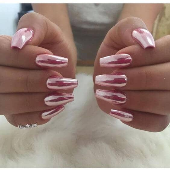 All Out Chrome Pink Long Nails