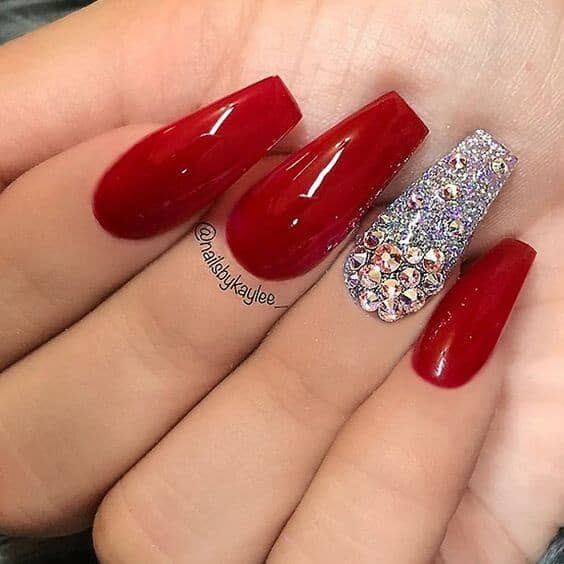 31 Crown Jewels Red And Chunky Rhinestone Coffin Shaped Nails