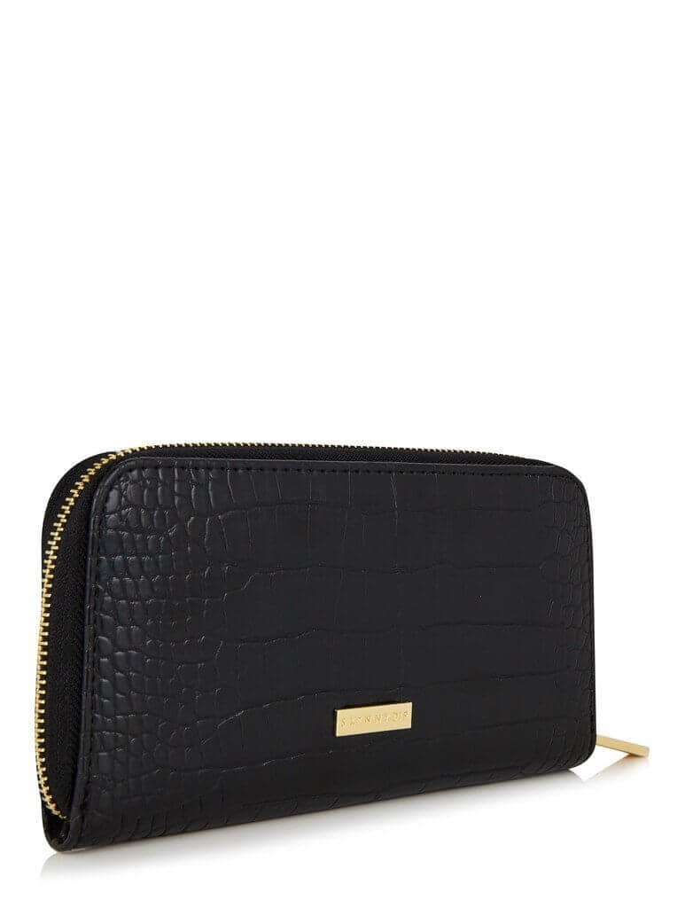 Croc Purse in Black with Gold Zipper