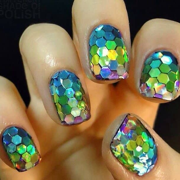 Hexagon Glitter Little Mermaid Nails