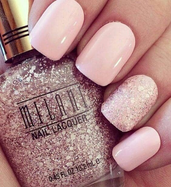 36) Opaque Pastel Pink And Pink Glitter Nail Design - 50 Sweet Pink Nail Design Ideas For A Manicure That Suits Exactly