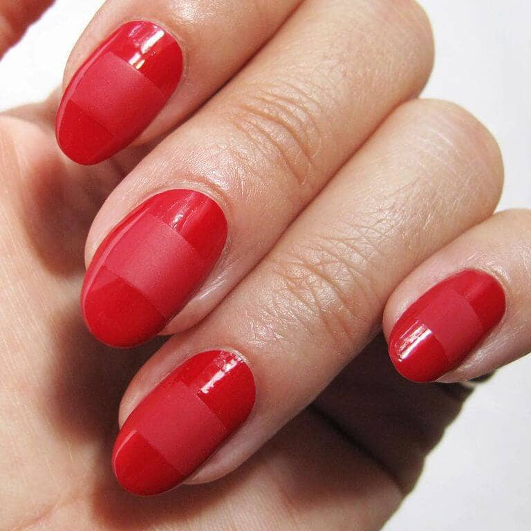 Basic Red Short Nails With A Small Twist