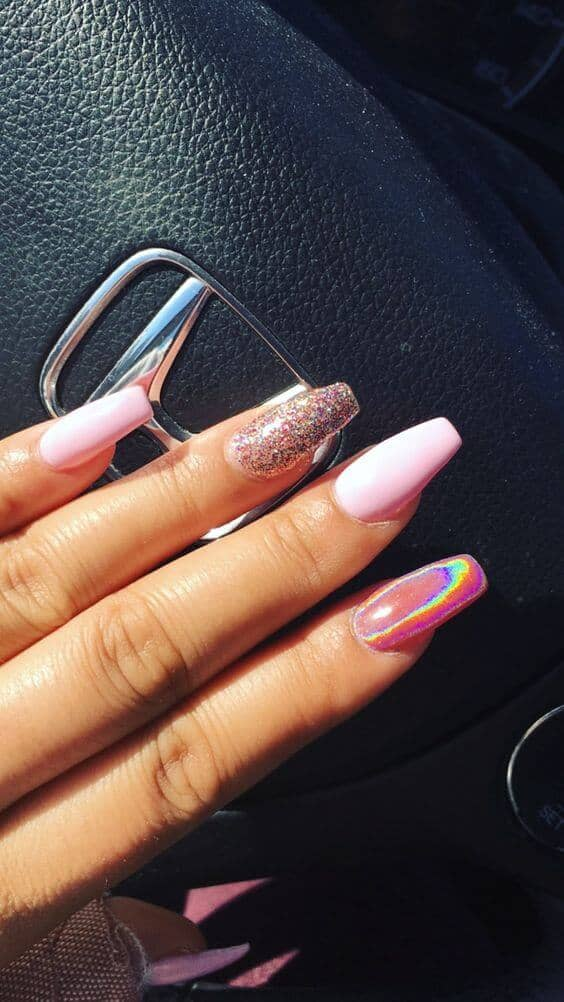 Glitter, Chrome, And Pink Trendy Nails