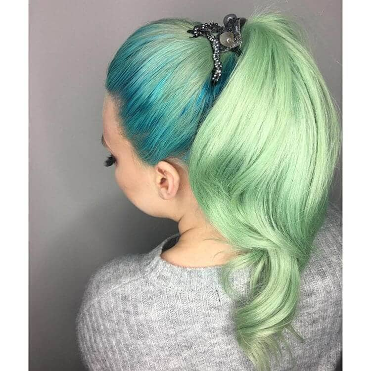 Delicate Turquoise Blue and Green Ponytail