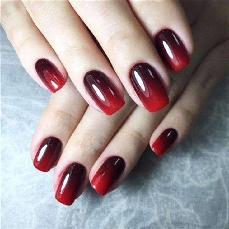 44) Short Ombre Square Nail Design - 50 Creative Red Acrylic Nail Designs To Inspire You