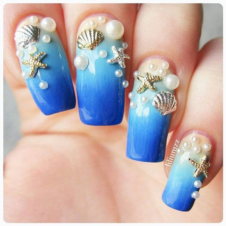 44) Deep Ocean Bottom Treasures Blue Nail Art - 50 Best Mermaid Nail Arts To Express Your Personality