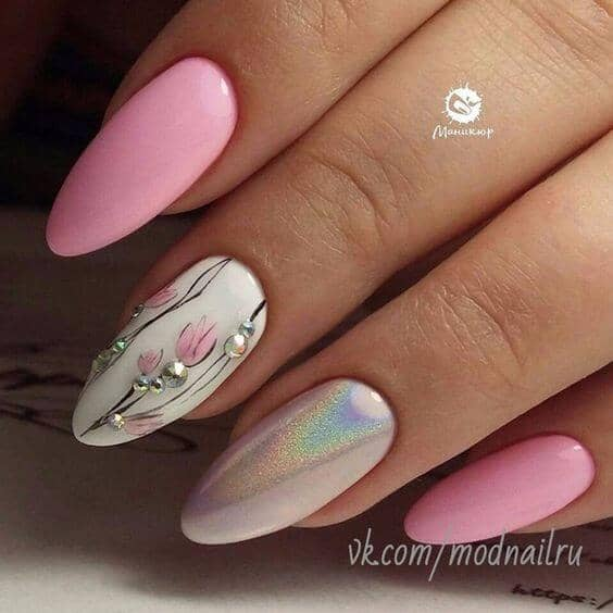 Japanese Art Inspired Flowers And Shimmer Nail Art Designs