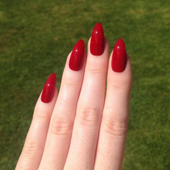 Awesome Deep Red Stiletto Nail Design