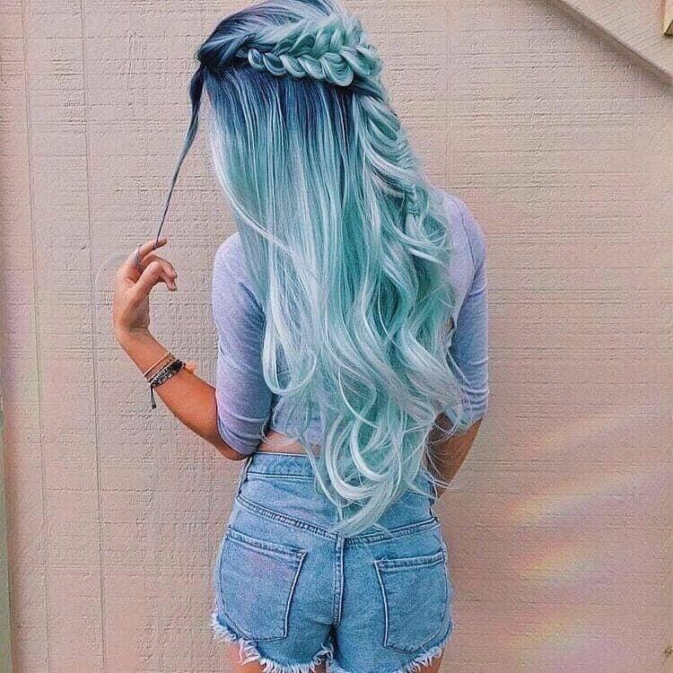 Ultra Long Blue Ombre Hair