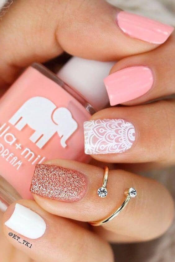 Henna Inspired Peachy Pink Beach Nails