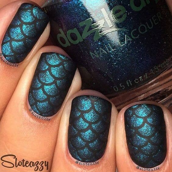 Textured Shimmery Mermaid Tail Scales with Black Lattice