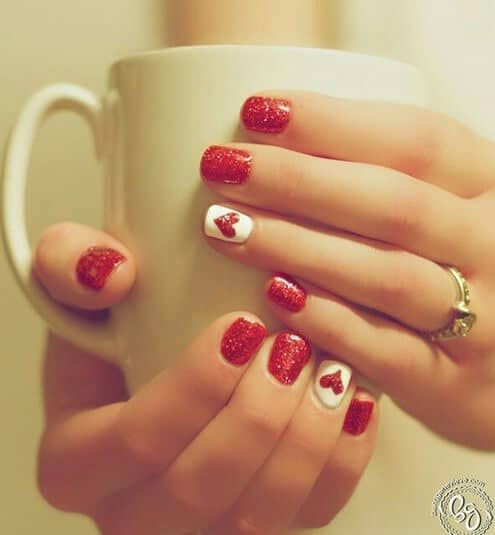 47) Hearts And Glitter Cute And Simple Nails - 50 Creative Red Acrylic Nail Designs To Inspire You