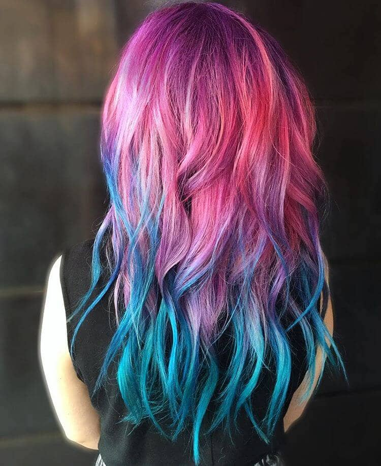 Pink Purple And Blue Ombre Hair
