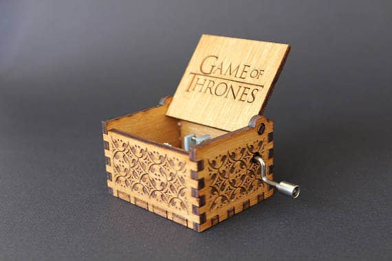 Wooden Music Box with Game of Thrones Engraving