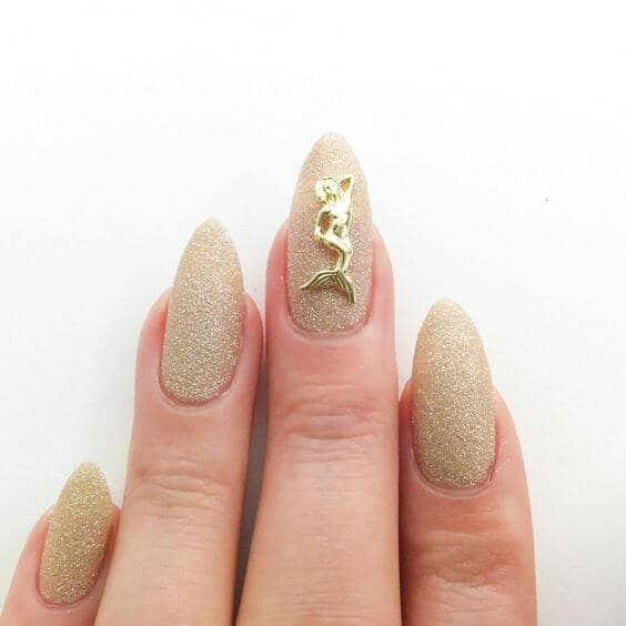 Desert Sand Storm Long Rounded Nail Art