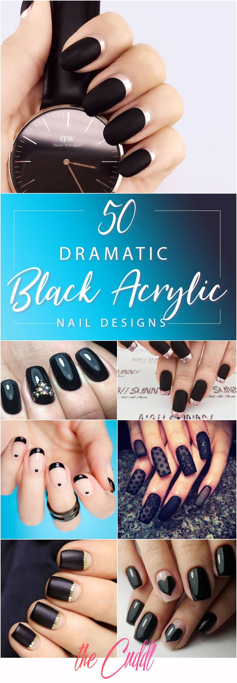 50 Dramatic Black Acrylic Nail Designs to Keep Your Style On