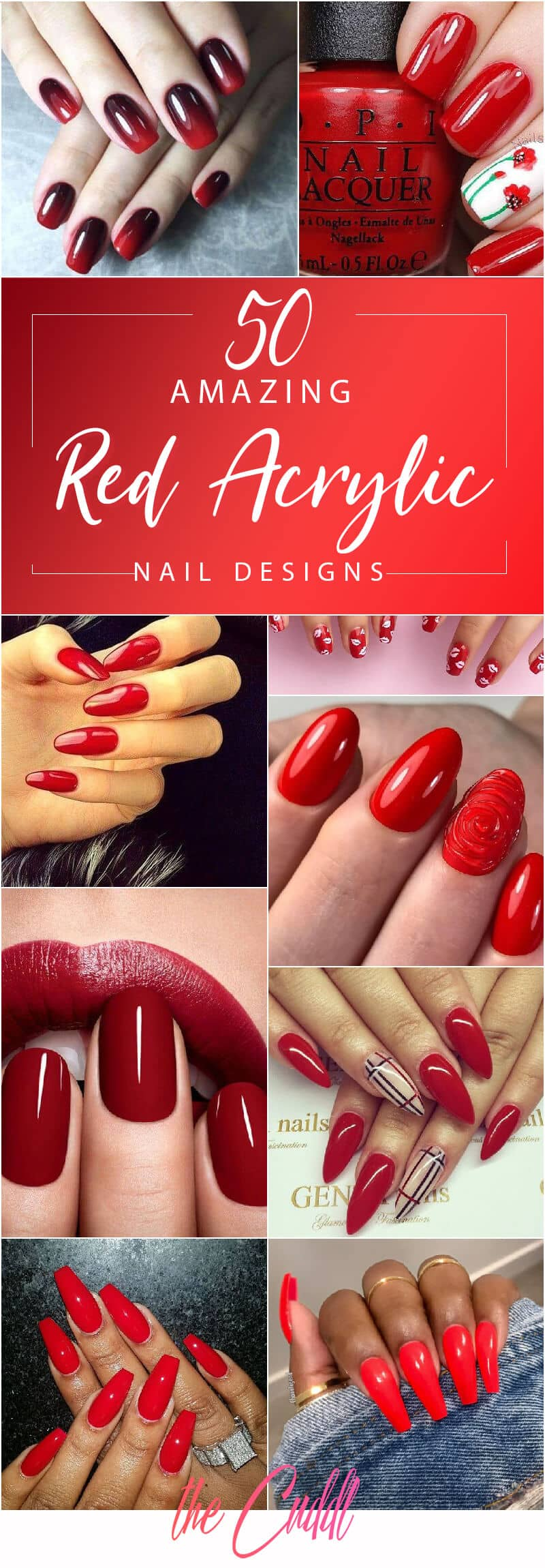 Creative Red Acrylic Nail Designs to Inspire You